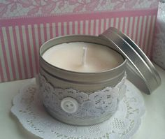 Soy Candle - Lily of the Valley in a Circular Tin with Lace - Floral - Pure White