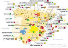 La demarcaciones territoriales del vino en España