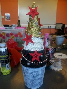Polystyrene christmas tree made with cord and pins