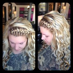 Amber Heater, Gorgeous Hair Salon, Salisbury MD Braided headband, wand curls, fresh color, blonde all over highlift color with highlights