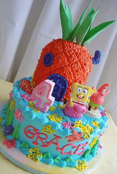 I want a Spongebob birthday cake! Spongebob Birthday Party, Birthday Cake Girls, 6th Birthday Parties, Birthday Ideas, Kylie Birthday, Birthday Cupcakes, 16th Birthday, Cake Decorating Tips, Diy Cake
