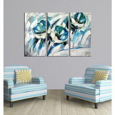 """This hand-painted """"The Winding Path"""" three-piece gallery-wrapped canvas art set will create a bold impression in any room. Three panels that combine to form a glorious image, this canvas art set will make a great addition to your home. Three Piece Wall Art, 3 Piece Canvas Art, 3 Piece Wall Art, Canvas Wall Art, Horizontal Wall Art, Flower Canvas, Art Store, Abstract Flowers, Online Art Gallery"""