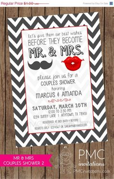 ON SALE Mr and Mrs Couples Shower Invitations  by PMCInvitations