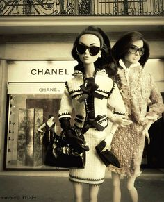 Barbie and her friend after shopping at #CHANEL - 'cause Barbie is High-Fashion High Class. CoCo Chanel would be proud. :)