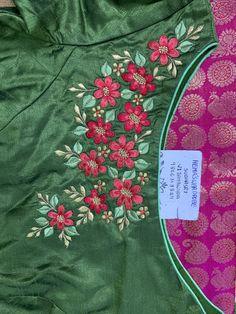 Embroidery Suits Punjabi, Kurti Embroidery Design, Hand Embroidery Dress, Embroidery Fashion, Hand Embroidery Designs, Flower Embroidery, Best Blouse Designs, Dress Neck Designs, Saree Blouse Designs