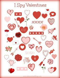 Valentine's Day I Spy - free printable game for kids!