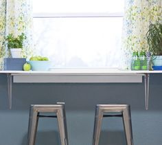 Attach a cut piece of countertop and it can serve as either a breakfast bar or an added work surface in the kitchen - use foldable brackets and store it away when it's not in use.