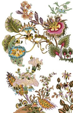 beautiful digital flower and border , Botanical Art, Botanical Illustration, Watercolor Illustration, Textile Prints, Floral Prints, Flora Flowers, Flower Wallpaper, Islamic Art, Pattern Art