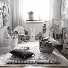 Lots of different shades of grey and white in this cute nursery