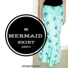 Make a Mermaid Skirt: Learn how to draft pattern to sew a Mermaid skirt or fishtail skirt. Free pattern and Step by step instructions to sew mermaid tail skirt Mermaid Skirt Pattern, Mermaid Tail Skirt, Skirt Pattern Free, Skirt Patterns Sewing, Free Sewing, Vintage Sewing Patterns, Clothing Patterns, Free Pattern, Mermaid Tails