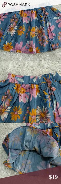 Chambray Pink Flowers Skirt. Kids Adorable chambray skirt with large pink flowers design.  This item is brand new and never used. No tags. Bottoms Skirts