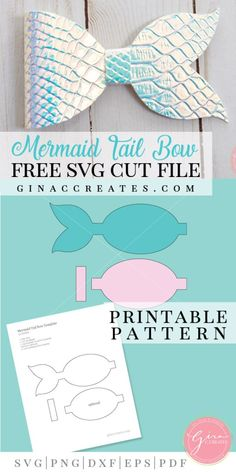 mermaid tail hair bow svg *Updated, the original mermaid tail bow was removed and is no longer being distributed, please enjoy this new version! UPDATE: Check out my Hair Bow Tutorial! Diy For Kids, Crafts For Kids, Art Crafts, Disney Hair Bows, Hair Bow Tutorial, Flower Tutorial, Headband Tutorial, Diy Headband, Bow Template