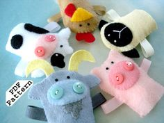 Sewing Pattern PDF for Farm Animal Felt Finger Puppet Goat-Pig-Cow etc
