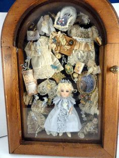 """Cathy Hanson - 4 1/2"""" bisque doll complete with accessories"""