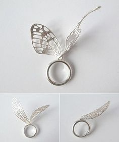 Sculptural butterfly ring with 3D wings; contemporary jewellery design // Ikumi Shirayama