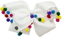 Impulse JoJo Siwa Signature Hair Bow White w/Rainbow Poms Jojo Siwa Bows, Jojo Bows, Big Hair Bows, Bow Hair Clips, Colored Hair Extensions, Floral Headdress, Cute Candy, Unicorn Gifts, Rainbow Hair