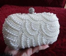 Vintage Bridal White Pearl Rhinestone Clutch Evening Party Purse Handbag!NEW