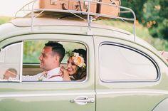 vw bug. Katy +Tyler, Ontario Barn Wedding, Sagewood Farm, Shot by Steve Stanton Photography. Sweet Vintage Caravan Co.