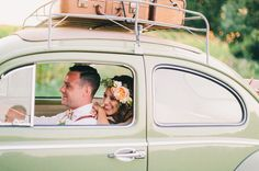 vw bug. Katy +Tyler, Ontario Barn Wedding, Sagewood Farm, Shot by Steve Stanton Photography. Sweet Vintage Caravan Co.
