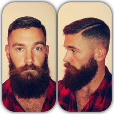 full thick dark beard and mustache two tone nice coloration beards bearded man men lumberjack style undercut handsome #beardsforever