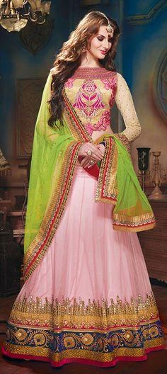 $164 153513, Mehendi & Sangeet Lehenga, Net, Machine Embroidery, Resham, Stone, Zari, Border, Thread, Lace, Pink and Majenta Color Family