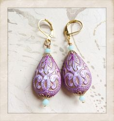 Mughal Indian Palace Earrings Vintage Lucite Gold by MinouBazaar