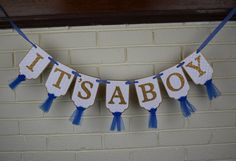 It's A Boy Banner, Embossed White Blue and Gold Banner with Tulle, Boy Baby Shower Decoration, Baby Boy Shower Banner, Nursery Banner by PaperEtcStudio on Etsy