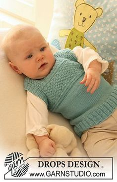"""b19-20 Sleeveless top in textured pattern in """"Baby Merino"""" by DROPS design - free Baby Knitting Patterns, Knitting For Kids, Baby Patterns, Hand Knitting, Baby Pullover, Baby Cardigan, Drops Design, Drops Baby, Knit Vest Pattern"""