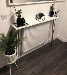 This item is unavailable Narrow Hallway Table, Narrow Hallway Decorating, Hallway Console, Decorating Small Spaces, Console Table, Grey And White Hallway, Entrance Hall Decor, Made To Measure Furniture, Hallway Designs