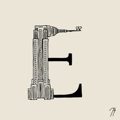 This is a digital print of my original illustration E - Empire State This alphabet is inspired by New York City. I love to illustrate lifes little moments and give it a twist of magic and abstraction - To show the beauty of everyday life. New York Alphabet, Julie Bjørnskov, c2015