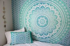 Turquoise Green Ombre Tapestry Hippie Wall Hanging, Bohemian Bedspread Bedding Dorm Decor by Jaipur Handloom