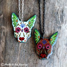Day of the Dead German Shepherd Sugar Skull por PrettyInInkJewelry, $19.95