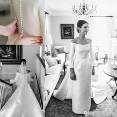 Discount Vintage Long Sleeves Wedding Dresses Bridal Gowns Off Shoulder Satin Train Pleats Sheath Beach Formal Bridal Dress Back Covered Button Gown Weddingdress Western Wedding Dresses From Click_me, $111.56| Dhgate.Com