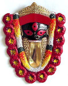Face of Kalighat Kali - Wall Hanging (Brass) Saraswati Goddess, Kali Goddess, Maa Kali Images, Good Morning Clips, Navratri Wallpaper, Mother Kali, Kali Mata, Shiva Statue, Lord Shiva Painting