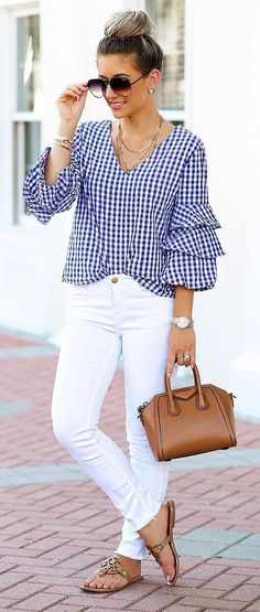 Blue gingham layered sleeve waist grazing blouse with white high waist denim, taupe suede chunky heel sandals (#SteveMadden) and a small brown vegan leather tote. Wearing your hair up in loose pinned curls with small barrel spirals in your bangs and side layers.