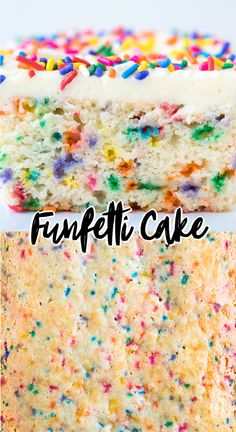 This fluffy and moist homemade Funfetti Cake is easy to make in a inch pan! This white confetti cake is full of sprinkles and topped with funfetti vanilla frosting. Learn how to make birthday funfetti cake from scratch with our tips. Best Dessert Recipes, Fun Desserts, Delicious Desserts, Strawberry Desserts, Cheesecake Strawberries, Strawberry Sauce, Healthy Desserts, Confetti Cake Recipes, Funfetti Kuchen