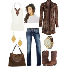 Long Aztec print cardigan and cowboy boots