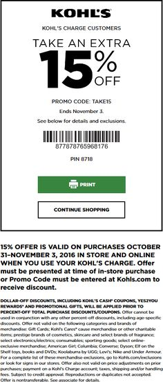 Pinned October 31st: Extra 15% off at #Kohls or online via promo code TAKE15 #TheCouponsApp