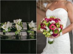 pink ranunculus and orchids