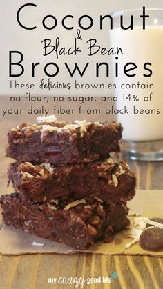 Coconut & Black Bean Brownies - a delicious treat with 14% of your daily fiber! Healthy Deserts, Healthy Sweets, Healthy Baking, Vegan Desserts, Just Desserts, Delicious Desserts, Healthy Snacks, Dessert Recipes, Yummy Food