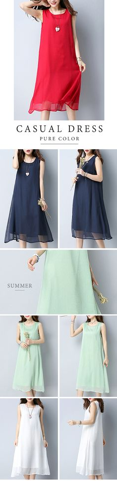 US$26.98  Casual Pure Color Sleeveless O-neck Mid-long Dress For Women