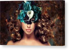 Girl Canvas Print featuring the mixed media Masquerade Ball by Marvin Blaine