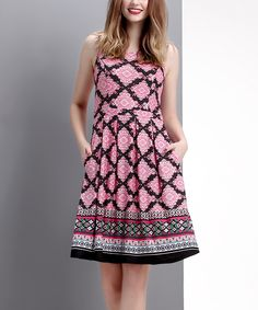 This Pink & Black Damask Sleeveless Fit & Flare Dress by Reborn Collection is perfect! #zulilyfinds