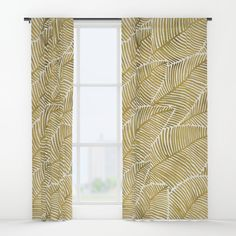 Tropical Gold Window Curtain by Cat Coquillette on Society6