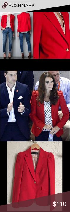 """Zara Woman Red Blazer as Worn by Kate. Size Small. Zara Woman Red Blazer with Gathered Shoulders and Gold Buttons. Size Small. As worn by Duchess Kate Middleton at 2012 London Olympics. Darling fitted blazer. Fits like a true small--similar to a size 4 top. Fully lined. Slanted pockets, peak lapels, and gathered shoulders for a feminine look. Brand new, never worn. Measurements laying flat: shoulder to shoulder 15"""", armpit to armpit 16"""", button cinch 15"""", length 25"""". Zara Jackets & Coats…"""