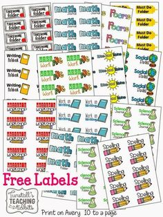 FREE folder and binder labels. This freebie is complete with labels for folders, school subject labels, and free labels for school including reading, . Classroom Setting, Kindergarten Classroom, School Classroom, Classroom Ideas, Classroom Labels Free, Future Classroom, Kindergarten Labels, Classroom Library Labels, Kindergarten Calendar