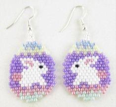 Easter Bunny on Egg Beadwork Seed Bead Holiday Earrings