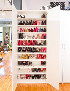 Awesome idea for shoe storage in a small living space - add a hallway closet.