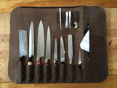 Knife roll / rouleau a couteaux – Caroline Letang Leather Apron, Cow Leather, Magnetic Knife Strip, Knife Block, Rolls, Handmade, Image, Wings, Knives