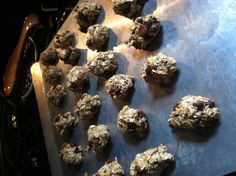 Two old bananas, old fashioned oats, chocolate chips...bake 350 15 mins...this is a recipe I found on Pinterest (credit to burlap bag) they are sweet and filling and not terrible for u...though next time I would use instant oats...